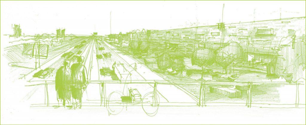 Impressie snelweg en woningen Boschkens