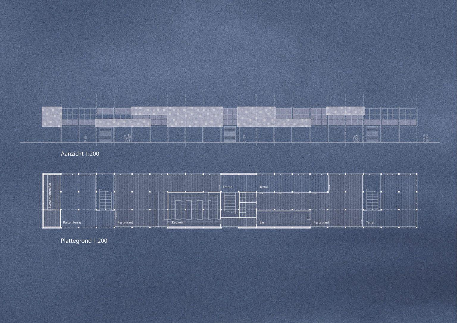 Plattegrond en aanzicht Juttershuis Strandpaviljoen van de toekomst